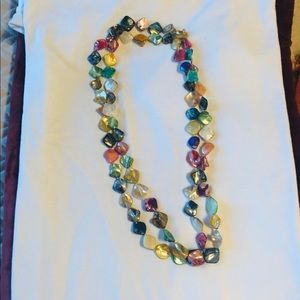 Dyed Mother of pearl double strands necklace